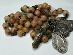 † Blessed Nun's Antique Puffy Center Dyed Carved Bovine Rosary 23 1/2 Medals †