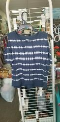 Old Navy Blue And White Cold Shoulder Girls Shirt Size 10 12 $9.99