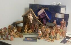 Fontanini Italy Nativity Resin Stable 26 Figurines 5 Scale Elephant Camel Well