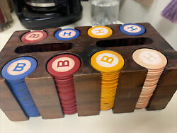 216 Antique Vintage Clay Poker Chips Monogrammed Inlaid Bandh 4 Colors And Holder