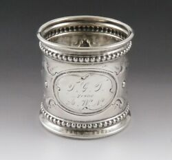 Antique 1860 American Coin Sterling Silver Coverted Napkin Ring Toothpick Holder