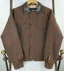 Barbour England Size Large Sylkoil Waxed Patina Brown Trucker Jacket Insulated