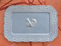 Lenox - Gorgeous Farmhouse Blue Provencal Garden Tray / Platter With Rooster