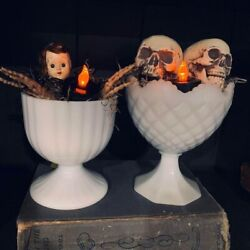 Vintage Milk Glass Candy Dishes With Halloween Decor