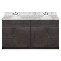 60 Vanity Cabinet Dover Gray + Cara White Marble Top + Lb5b Faucet