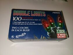 Vintage Noma Christmas Lights Double Color 100 Bulb Red Green Tested