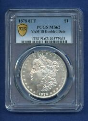 1878 P 8tf Pcgs Ms62 Morgan Dollar Ms-62 8 Tail Feather Vam 18 Doubled Date