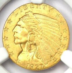 1927 Indian Gold Quarter Eagle 2.50 Coin - Ngc Uncirculated Details Unc Ms