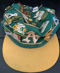 Vintage Oakland A's Sports Specialties Adj. Cap With Over 40+ Pins Free Shipping