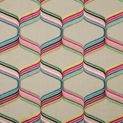 Gp And J Baker Vibrant Embroidered Trellis Fabric- Assisi Multi 3.75 Yd Bf10567.1