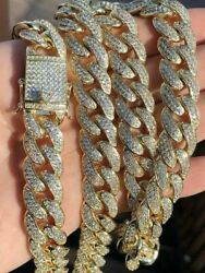 150 Gram Heavy Moissanite Pure 925 Sterling Silver Chain Cuban Curb Gold Plated