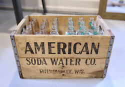 Rare American Soda Water Company Crate And 24 Glass Bottles