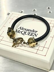 🔥rare Sold Out Alexander Mcqueen Skull Leather Bracelet Gold Nib Discontinued