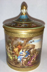 Exquisite Antique Royal Vienna Porcelain Covered Cup Mercury Hand Painted Scene