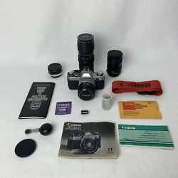 Working Canon Ae-1 35mm Film Camera With 4 Lenses Manuals And Acc. Read