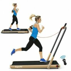 2-in-1 Folding Treadmill With Remote Control And Led Display-golden - Color Go