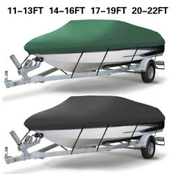 Heavy Duty 210d Marine Grade Waterproof Boat Cover Fit V-hull Tri-hull Runabout