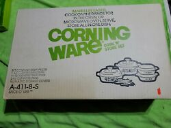 New Vintage Corning Ware Cook N Store Set 8 Pieces Spice Oand039 Life A-411-8-s
