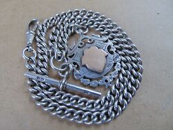 Chester Antique Sterling Silver Albert Pocket Watch Chain And Gold Fob 1912