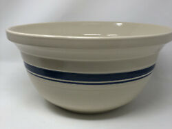 Roseville Ohio Pottery Beige Double Blue Band Stripe 8 Qt 14 Mixing Bowl Usa