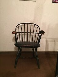 Rare Important Antique Original Stuffed Sack Back Windsor Chair- Must See