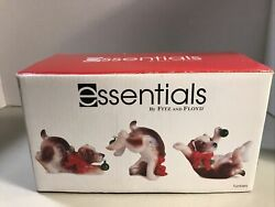 New Fitz And Floyd Essentials Tumblers 3 Dog Figurines Christmas Claus And Paws