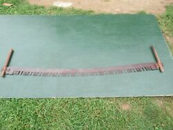 Great Old Crosscut Saw Tool + 65 Long Blade Has Two Wooden Handle