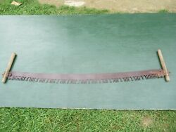 Nice Antique Crosscut Saw Tool + 60 Long Blade Two Wooden Handle