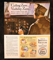 Wwii Army Aircraft Pilot Many Uses Of Oil Socony-vacuum 1943 Vintage Ad