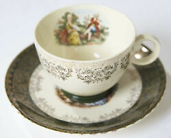 Taylor, Smith And Taylor Colonial Couple China 2176, Cup And Saucer Green And Gold Usa