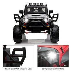 Kids Ride On Truck Car Jeep Toys Mp3 Led W/remotesilver Electric 12v Battery Us