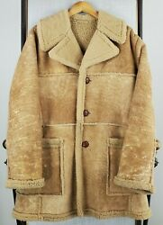 Vtg Woolrich Size 42 Large California Lamb Suede Shearling Ranch Western Jacket