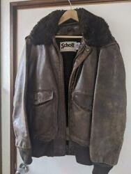 Schott Authentic 184sm G-1 Bomber Flight Jacket Brown 38 Used From Japan