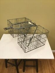 Vintage D.c.m. Bicycle Luggage Rack And Double Folding Baskets Denmark Columbia
