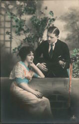 Art Deco Man Playing A Guitar For A Woman Postcard Vintage Post Card