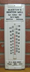 Martinand039s Benton Mill Indiana Old Ad Thermometer Sign Feed Fertilizer Seed Coal