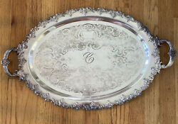 Large Vintage Oval Silverplate Monogram C Tray Silver Plate Monogrammed