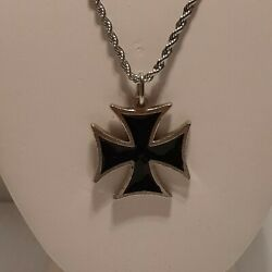 Iron Cross Pewter Pendant Charm / 24 Stainless Steel Rope Chain Necklace