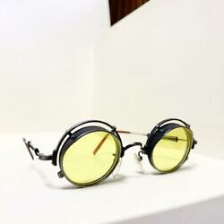 Vintage Round Glasses Sunglasses Yellow Lens Menand039s Rare Free Shipping From Japan