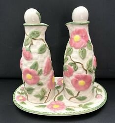 Franciscan Earthenware Desert Rose Oil And Vinegar Cruets With Tray Set