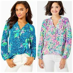 Lilly Pulitzer Elsa Silk Top Multi Lillys Favorite Things Hot On The Spot
