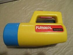 1986 Yellow Blue Playskool Duracell Kids 3-color Changing Flashlight, Clear Lens