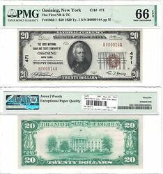 1929 20 First National Bank And Trust Company Of Ossining, Ny Pmg Gem Unc-66 Epq