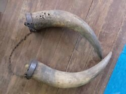 Nice Antique - Pair 2 Black Powder Horns Chained