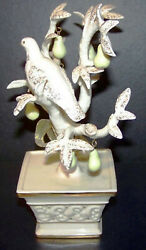Vintage Lenox Ivory China Partridge In A Pear Tree Sculpture 6 Ornaments - Rare