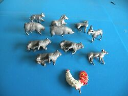 Animals Lot Pig Lamb Horse Cow Rooster Tiger Toy Farm Zoo New Cast Lead L23