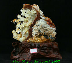 15 Fine Natural Xiu Jade Carved Bamboo Forest Red-crowned Crane Shanzi Statue