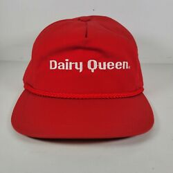 Vintage Snapback Hat Cap Dairy Queen Embroidered Red Rope Cord Usa