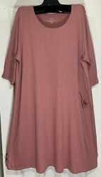 New Jjill Women Plus Size 4x Easy Knit Seamed Dress With Pocket Coral Back Seam
