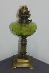 Antique Oil Lamp , Onyx , Bronze And Cut Green Glass Font